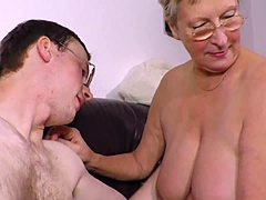 Misbehaving sandy colored Granny Angelika team-fucked lusty