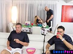 Teeny comes into uncles impressive jock amid watching the superbowl mom sex
